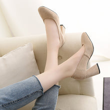 Load image into Gallery viewer, Super Fiber High Heel Bride Shoes Block Heel Pumps