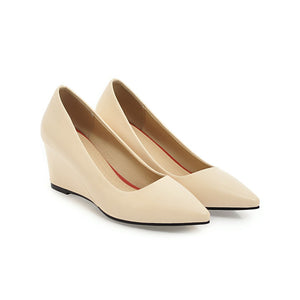Pointed Toe Pumps Shallow-mouth Middle Heel Women Wedges Shoes