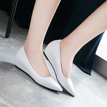 Load image into Gallery viewer, Pointed Toe Pumps Shallow-mouth Middle Heel Women Wedges Shoes