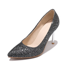 Load image into Gallery viewer, Stiletto Heel Pointed Toe Shallow Sequin High Heel Bride Wedding Shoes Women Pumps