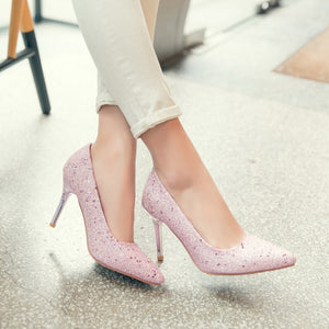 Stiletto Heel Pointed Toe Shallow Sequin High Heel Bride Wedding Shoes Women Pumps