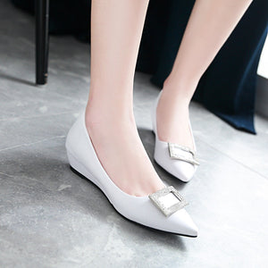 Leisure Pointed Toe Rhinestone Wedges Women Pumps Shoes