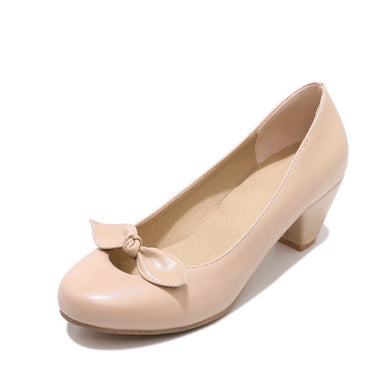 Sweet Bowknot Round Head Large Size Women's Chunky Heels Pumps