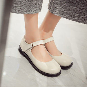 Girls Retro Round Head Middle School Flat Shoes