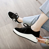 Black Genuine Leather Platform Wedges Sneakers Shoes for Women 6064
