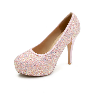 Pointed Toe Sequins Super High Heels Bride Shoes