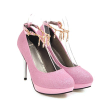 Load image into Gallery viewer, Stiletto Heels Sequins Buckle Bride Single Shoes Rhinestone Women Pumps