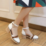 Ankle Strap Mid Heel Chunky Sandals Summer Shoes 5150