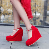 Ankle Strap Pearls Rhinestone Platform Wedges Shoes for Woman 4396