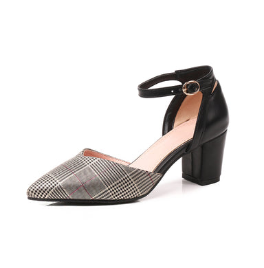 Women's Pointed High Heel Plaid Chunky Heel Sandals