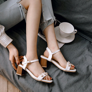 Women's Middle Heel Open Toe Chunky Heel Sandals