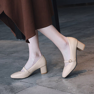 Buckle Middle Heel Shallow Mouth Square Head Women Chunky Pumps