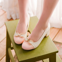 Load image into Gallery viewer, Butterfly Knot Medium-heeled Round Shallow-mouthed Women Chunky Heels Pumps