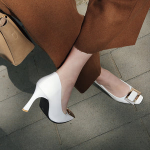 Square Head Buckle High Heel Pumps