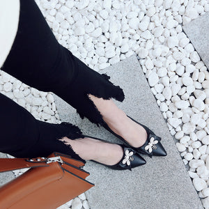 Pointed Toe Rhinestone Bow High Heels Pumps
