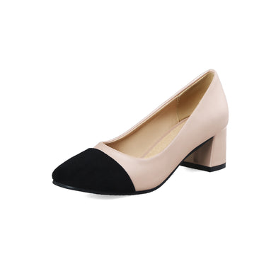 Square Head Color Matching Women's Pumps Middle Heels Shoes