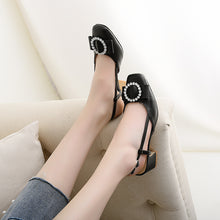 Load image into Gallery viewer, Rhinestone Mid Heel Sandals Slingbacks Summer Shoes 7136