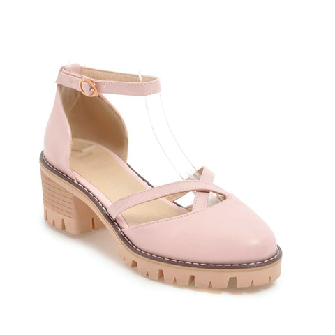 Ankle Strap Mid Heel Chunky Sandals Summer Shoes 7777