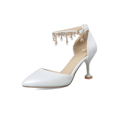 Women's Pointed Bride Wedding Shoes High-heel Buckle Stiletto Heel Sandals