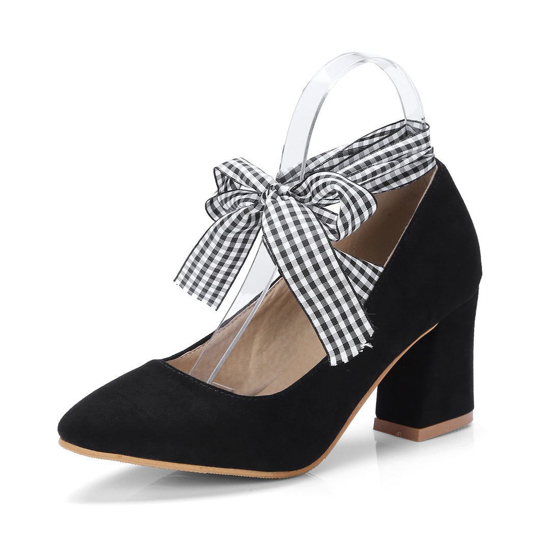 Strappy Plaid Chunky Heel Pumps
