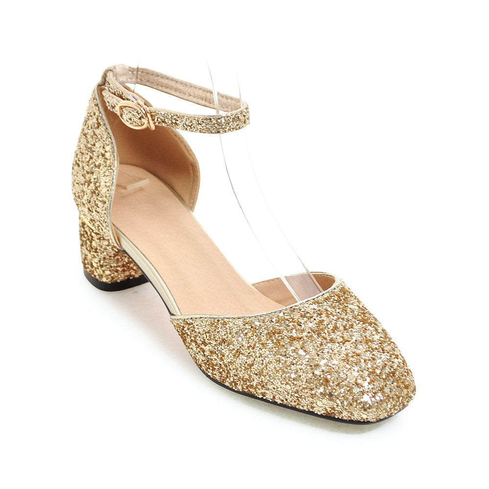 dd46346ca3f Ankle Strap Sequined Mid Heel Sandals Summer Wedding Shoes 2753 – Shoeu