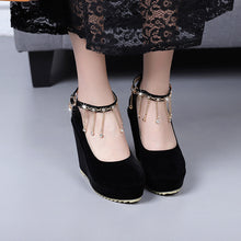 Load image into Gallery viewer, Women's Bride Shoes Round Head Shallow Buckle Platform Wedges Shoes