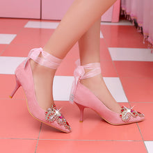 Load image into Gallery viewer, Bride Shoes Frosted Pointed Shallow Mouth Sexy Thin Heel High Heel Pumps