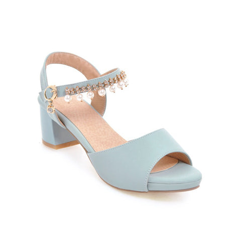 Ankle Strap Rhinestone Pearls Mid Heel Sandals Summer Shoes 6211