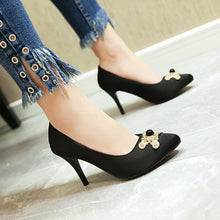 Load image into Gallery viewer, Stiletto Rhinestone High Heel Pointed Toe Pumps