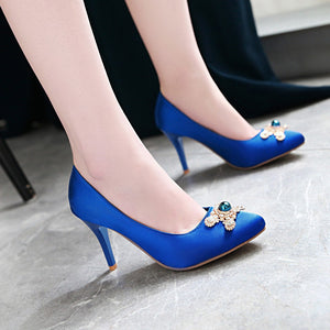 Stiletto Rhinestone High Heel Pointed Toe Pumps