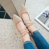 Cross Strap Pointed Toe Mid Heel Pumps Shoes 4520