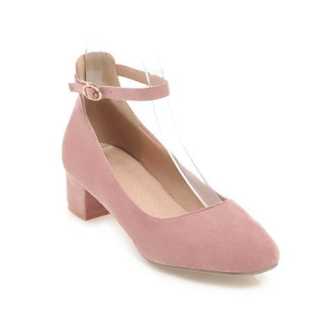 Ankle Strap Mid Heel Pumps Shoes for Women 8890