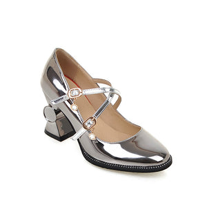 Patent Leather Square Head Buckle Belt Chunky Heel Pumps