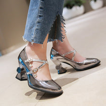 Load image into Gallery viewer, Patent Leather Square Head Buckle Belt Chunky Heel Pumps