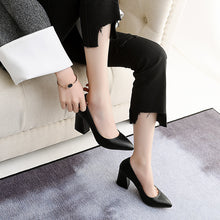 Load image into Gallery viewer, High Heel Pointed Toe Block Heel Pumps
