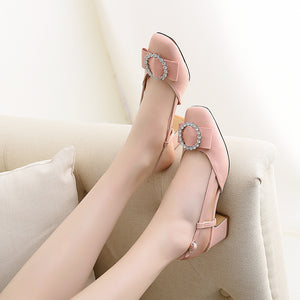 Rhinestone Mid Heel Sandals Slingbacks Summer Shoes 7136