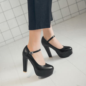Women Mary Janes Platform Pumps High Heel Shoes 3798