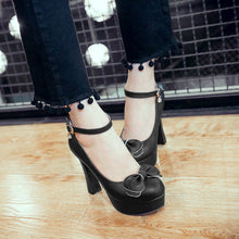 Load image into Gallery viewer, Sweet Bow Round Head Buckle Platform Pumps High Heels
