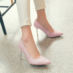 Pointed Toe Pumps Sequined High Heeled Wedding Shoes 7233