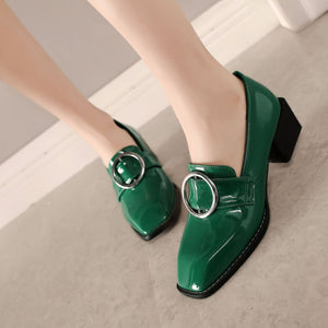Casual Square Toe Shallow Mouth Middle Heels Women Chunky Pumps