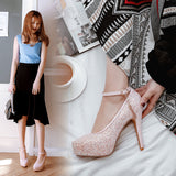 Ankle Strap Sequin High Heel Platform Pumps Wedding Shoes Woman 8126