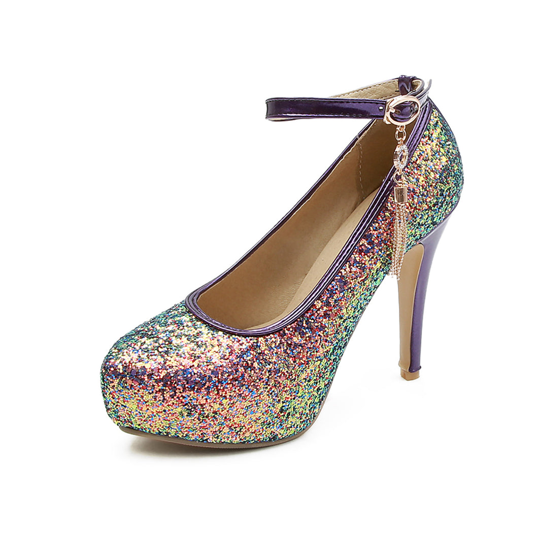Super High Heels Pointed Toe Sequins Nightclub Platform Pumps Wedding Shoes