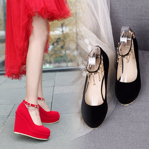 Women's Bride Shoes Round Head Shallow Buckle Platform Wedges Shoes