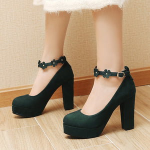 Flower Ankle Strap Super High Heel Large Size Round Head Platform Pumps