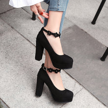 Load image into Gallery viewer, Flower Ankle Strap Super High Heel Large Size Round Head Platform Pumps