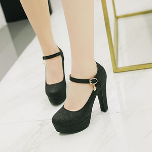 Shallow Toe Sparkling Wedding Shoes High Heels Platform Pumps