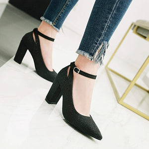 Pointed Toe Sequin Buckle High Heel Thick Heeled Shoes