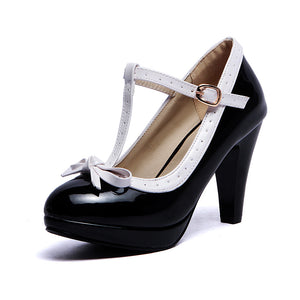 Women's Chunky Heel Pumps Round Head Shallow Mouth T-buckle High Heels