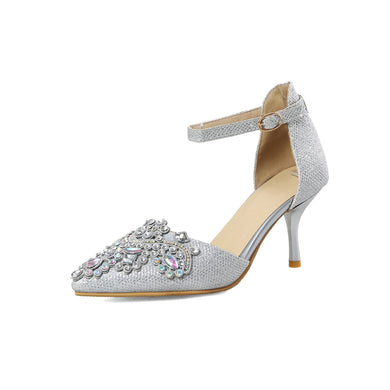Women's Pointed Toe High Heels Bride Rhinestone Stiletto Heel Sandals