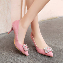 Load image into Gallery viewer, Suede Wedding Shoe Pointed Square Button Stiletto Heels Rhinestone